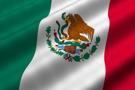 rendering: Detailed 3d rendering closeup of the flag of Mexico.  Flag has a detailed realistic fabric texture.