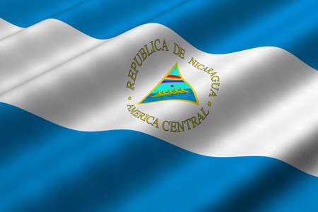 Detailed 3d rendering closeup of the flag of Nicaragua.  Flag has a detailed realistic fabric texture. photo