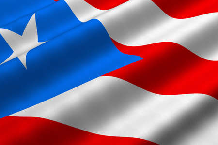 rendering: Detailed 3d rendering closeup of the flag of Puerto Rico.  Flag has a detailed realistic fabric texture. Stock Photo