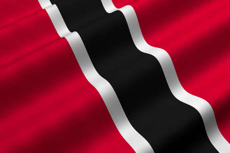 Detailed 3d rendering closeup of the flag of Trinidad and Tobago.  Flag has a detailed realistic fabric texture.