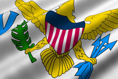 the virgin islands: Detailed 3d rendering closeup of the flag of the United States Virgin Islands.  Flag has a detailed realistic fabric texture.