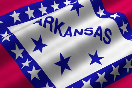 Detailed 3d rendering closeup of the flag of the US State of Arkansas.  Flag has a detailed realistic fabric texture. Stok Fotoğraf