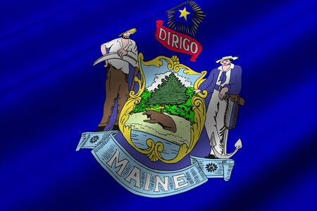 Detailed 3d rendering closeup of the flag of the US State of Maine.  Flag has a detailed realistic fabric texture.