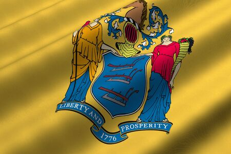 Detailed 3d rendering closeup of the flag of the US State of New Jersey.  Flag has a detailed realistic fabric texture.