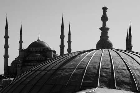 View of the Blue Mosque in Istanbul, Turkey from Hagia Sophia. photo