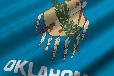 Detailed 3d rendering closeup of the flag of the US State of Oklahama.  Flag has a detailed realistic fabric texture. photo