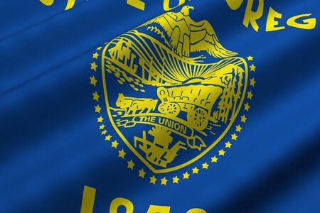 Detailed 3d rendering closeup of the flag of the US State of Oregon.  Flag has a detailed realistic fabric texture. Stok Fotoğraf