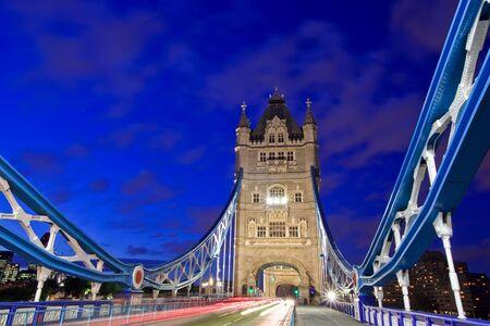 Evening traffic on the Tower Bridge in London, England photo