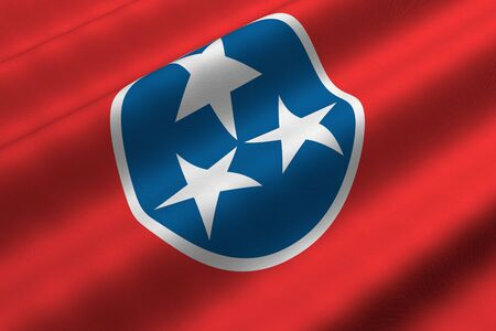 Detailed 3d rendering closeup of the flag of the US State of Tennessee.  Flag has a detailed realistic fabric texture.