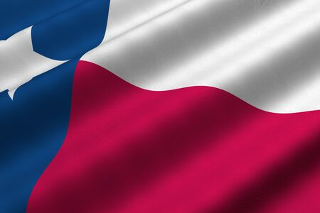 Detailed 3d rendering closeup of the flag of the US State of Texas.  Flag has a detailed realistic fabric texture. photo