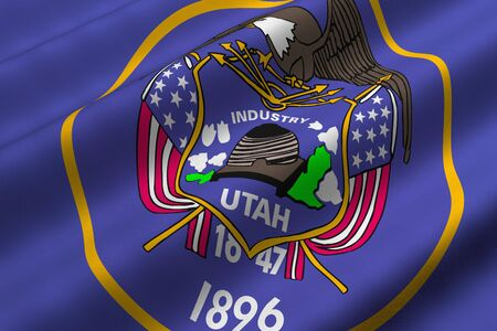 Detailed 3d rendering closeup of the flag of the US State of Utah.  Flag has a detailed realistic fabric texture.