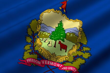 Detailed 3d rendering closeup of the flag of the US State of Vermont.  Flag has a detailed realistic fabric texture. Stok Fotoğraf