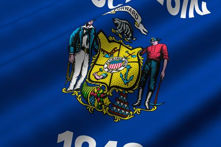 Detailed 3d rendering closeup of the flag of the US State of Wisconsin.  Flag has a detailed realistic fabric texture.