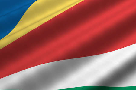 Detailed 3d rendering closeup of the flag of Seychelles.  Flag has a detailed realistic fabric texture.