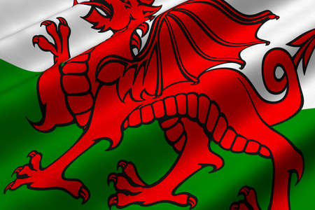 Detailed 3d rendering closeup of the flag of Wales.  Flag has a detailed realistic fabric texture.