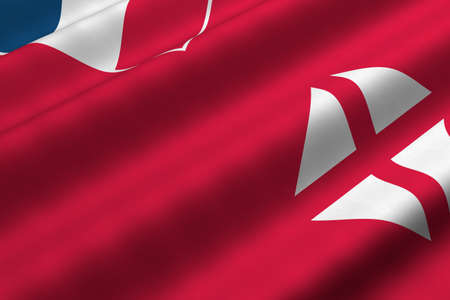 Detailed 3d rendering closeup of the flag of Wallis and Futuna.  Flag has a detailed realistic fabric texture. photo