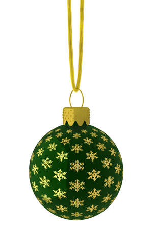 Detailed 3D rendering of a green Christmas ornament hanging on a golden string.