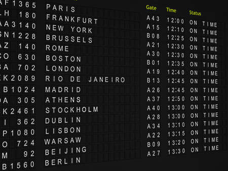 Detailed rendering of a flight information board showing international flights to major world cities with all flights on time.