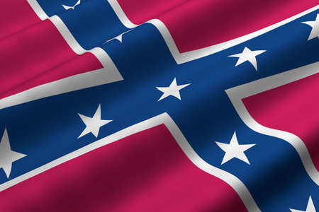 Detailed 3d rendering closeup of the Confederate flag.  Flag has a detailed realistic fabric texture. photo