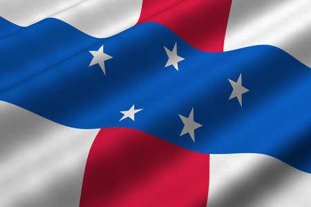 Gedetailleerde 3D rendering close-up van de vlag van de Nederlandse Antillen. Vlag heeft een gedetailleerde realistisch weefsel structuur.