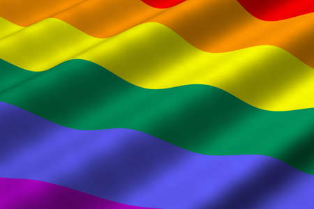 LGBT 운동을 나타내는 무지개 깃발의 3d 렌더링 근접 촬영을 자세히 설명합니다. 플래그는 자세한 현실적인 패브릭 질감을하고 있습니다.