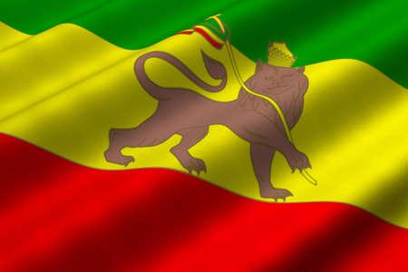 reggae: Gros plan d�taill� de rendu 3D du drapeau rastafari. Pavillon a une texture de tissu d�taill�e r�aliste.