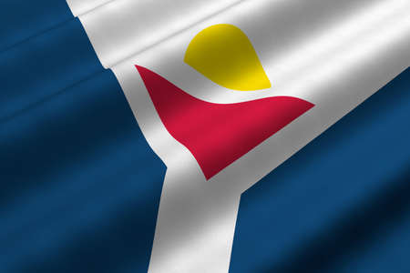 Detailed 3d rendering closeup of the flag of Saint Martin.  Flag has a detailed realistic fabric texture. photo