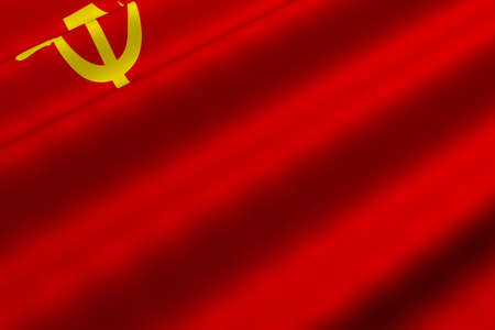 Detailed 3d rendering closeup of the flag of the Soviet Union.  Flag has a detailed realistic fabric texture.