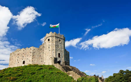 cardiff: View of Cardiff Castle in Cardiff, Wales. Stock Photo