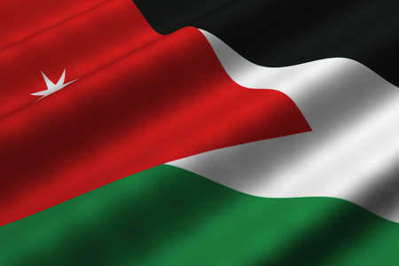 Detailed 3d rendering closeup of the flag of Jordan.  Flag has a detailed realistic fabric texture.