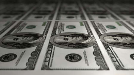 one sheet: Closeup of a sheet of one hundred dollar bills with shallow depth of field.