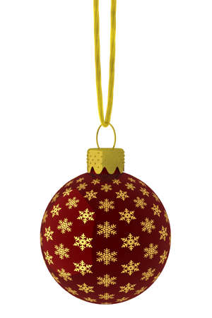 Detailed 3D rendering of a red Christmas ornament hanging on a gold string. photo