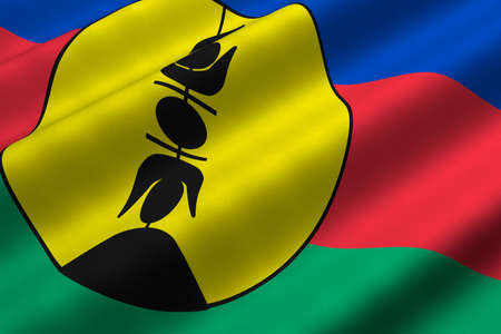 Detailed 3d rendering closeup of the flag of New Caledonia.  Flag has a detailed realistic fabric texture. photo
