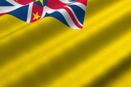 niue: Detailed 3d rendering closeup of the flag of Niue.  Flag has a detailed realistic fabric texture.