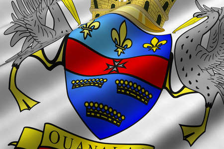 Detailed 3d rendering closeup of the flag of Saint Barthelemy.  Flag has a detailed realistic fabric texture.