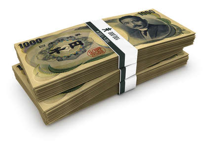 yen: Bundles of Japanese one thousand Yen banknotes. Stock Photo