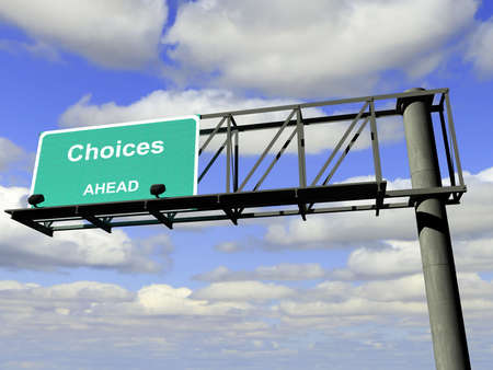 "Overhead highway sign with the word "",choices"",."