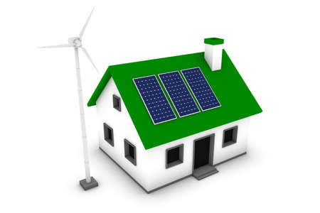 Green energy conceptual rendering of a house with a wind turbine and solar panels. Stock Photo