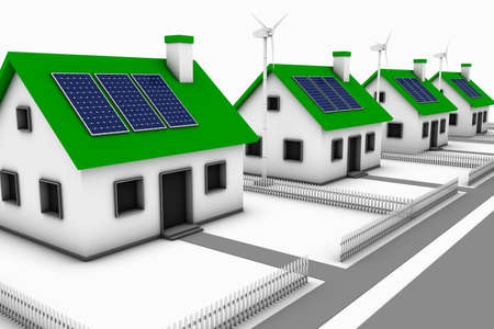 Green energy conceptual rendering of a neighborhood comprised of houses with wind turbines and solar panels.