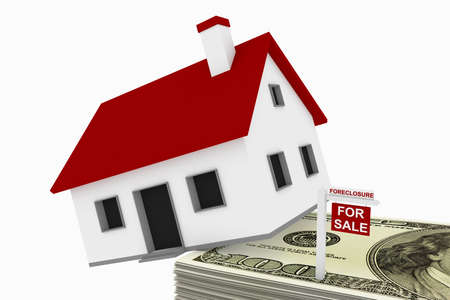 repo: Mountain of mortgage debt concept, comprised of a house falling off a stack of money, with a foreclosure sign.