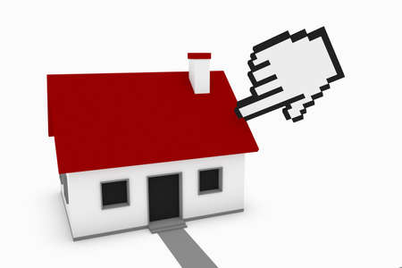 Selecting a house concept, comprised of a pixelated hand pointing to a small house. Stock Photo