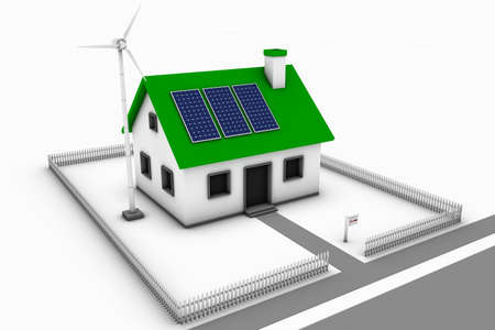 Green energy conceptual rendering of a house with a wind turbine and solar panels with a for sale sign. photo