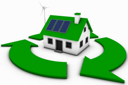 Green energy conceptual rendering of a house with a wind turbine and solar panels with a recycle sign. photo