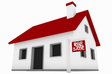 sold small: Detailed rendering of a small house with a for sale and sold sign. Stock Photo