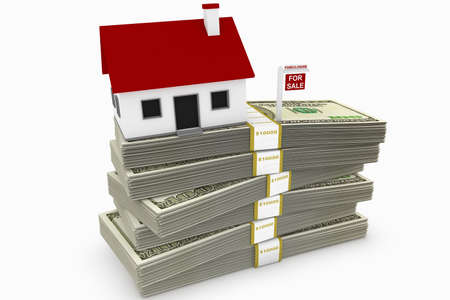 Mountain of mortgage debt concept, comprised of a house on a stack of money, with a foreclosure sign. Stock Photo