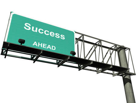"Overhead highway sign with the word ""success"" isolated on a white background with a clipping path included. 스톡 콘텐츠"