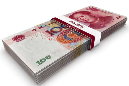 A bundle of Chinese one hundred Yuan banknotes. Stok Fotoğraf