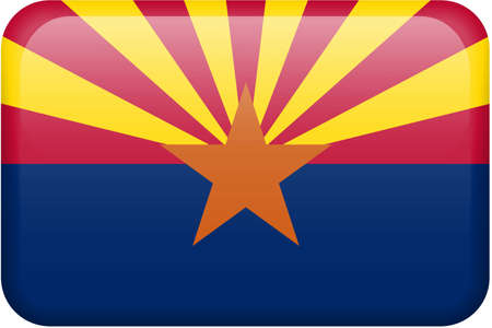 all in: Arizona flag rectangular button.  Part of set of US State flags all in 2:3 proportion with accurate design and colors. Stock Photo