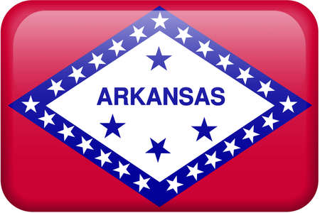 Arkansas flag rectangular button.  Part of set of US State flags all in 2:3 proportion with accurate design and colors. photo