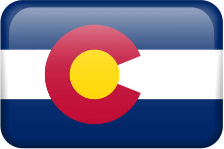 colorado flag: Colorado flag rectangular button.  Part of set of US State flags all in 2:3 proportion with accurate design and colors.